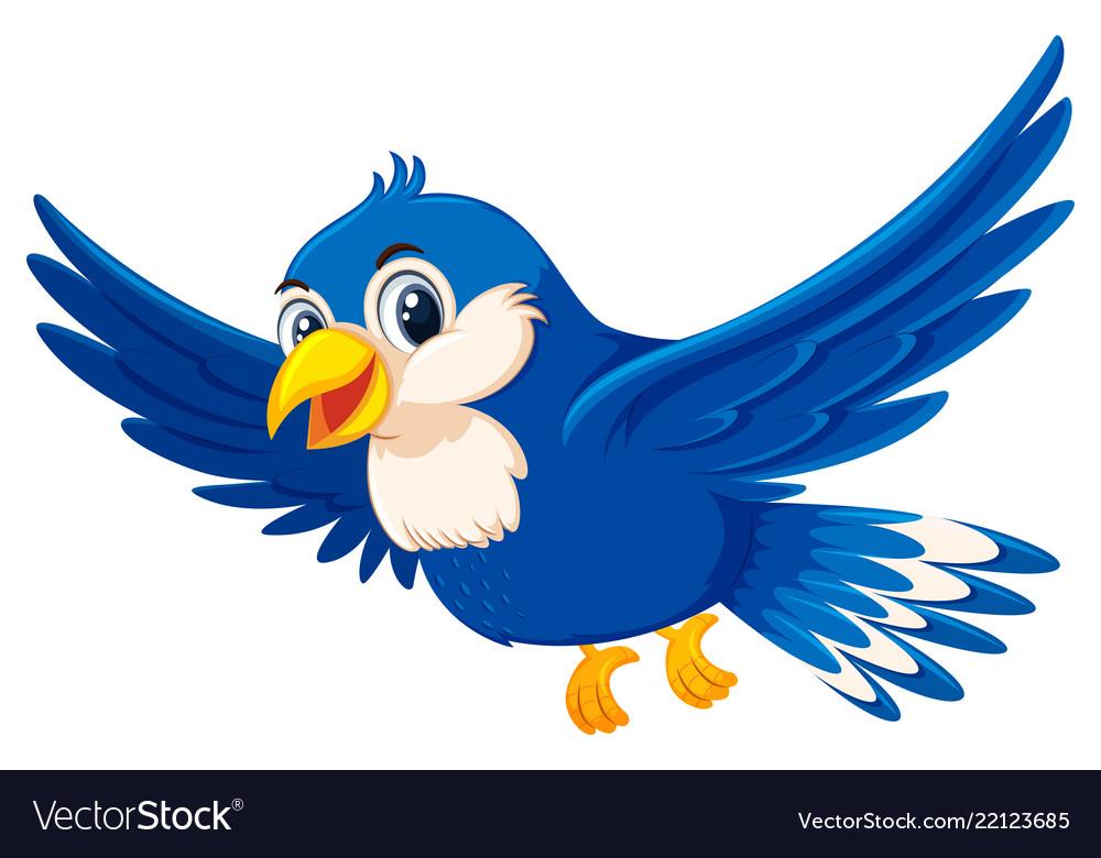Cute Flying Blue Bird Royalty Free Vector Image
