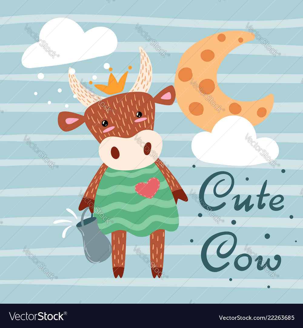 Cute Happy Cow Characters Idea For Print T Shirt Vector Image