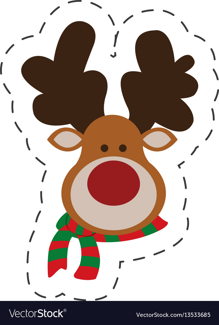 Cute portrait reindeer christmas cut line