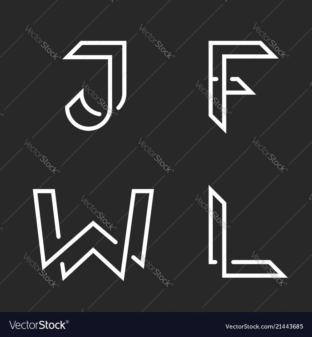 Elegant letters set w j f l logos creative