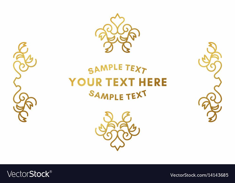 Golden luxurious logo frame golden on white