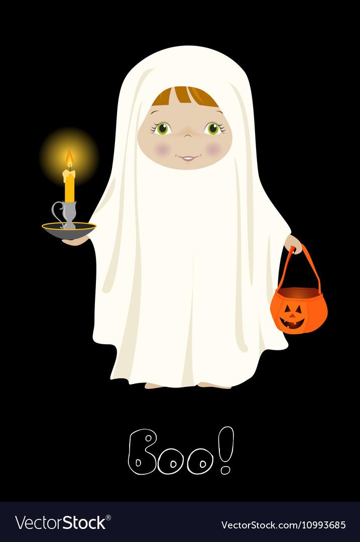 Halloween Boo card with cute ghost
