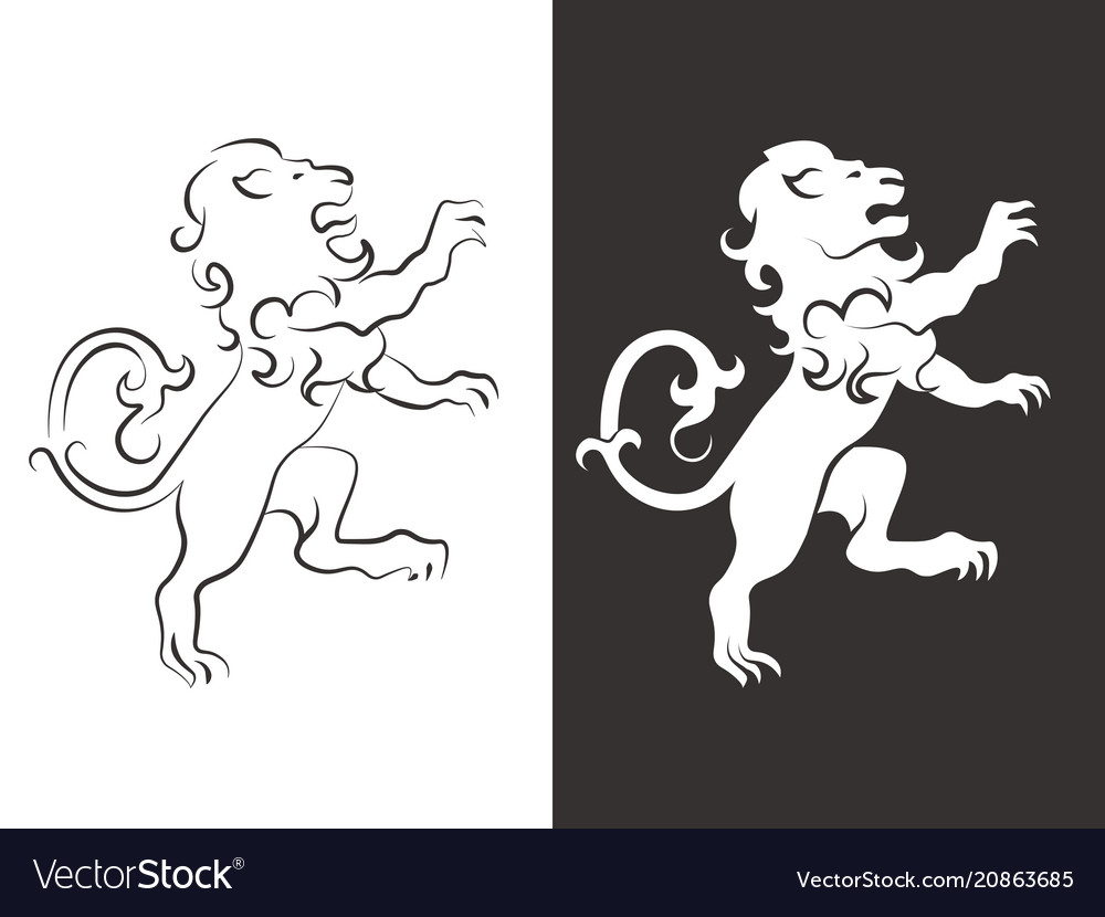 Heraldic lion line and silhouette lions