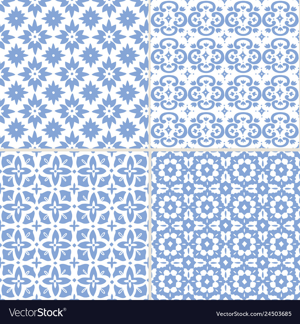 Set hand drawn blue moroccan seamless patterns
