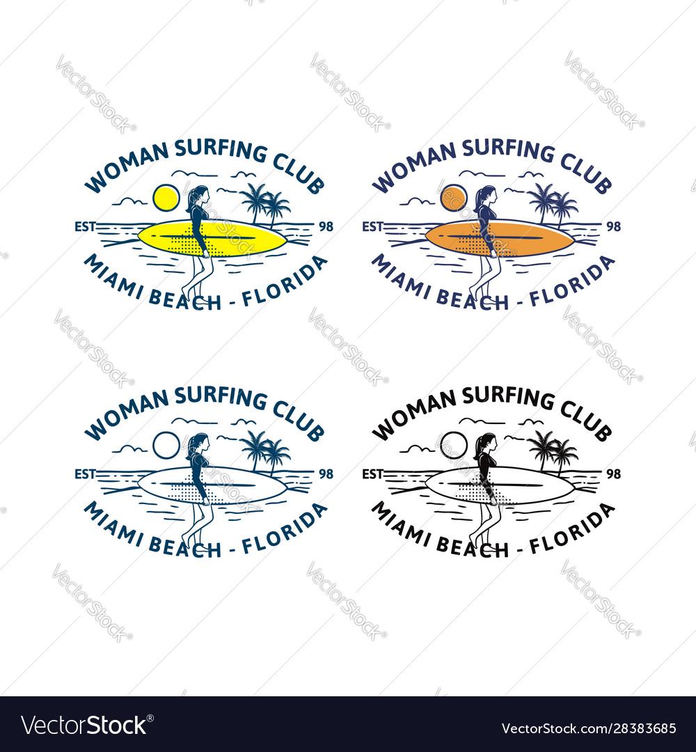 Woman surfing club design logo badge t shirt