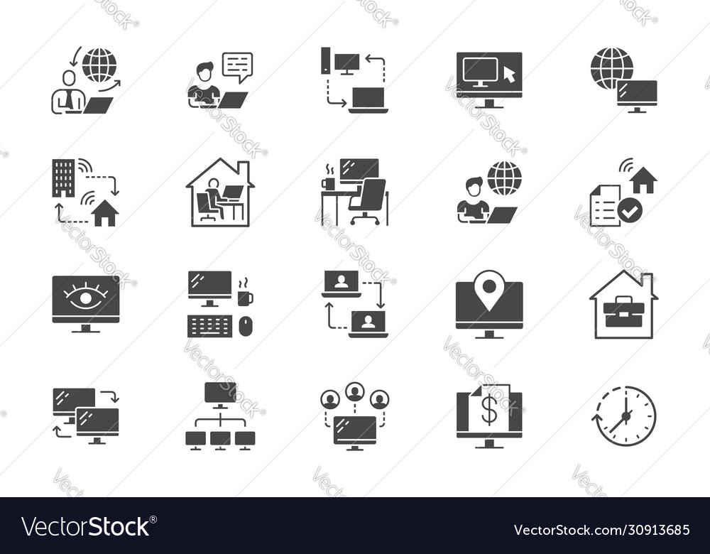 Work from home flat icons