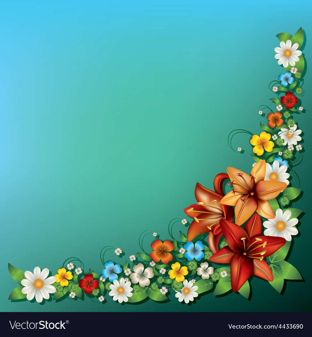 Abstract Spring Floral Background With Flowers On
