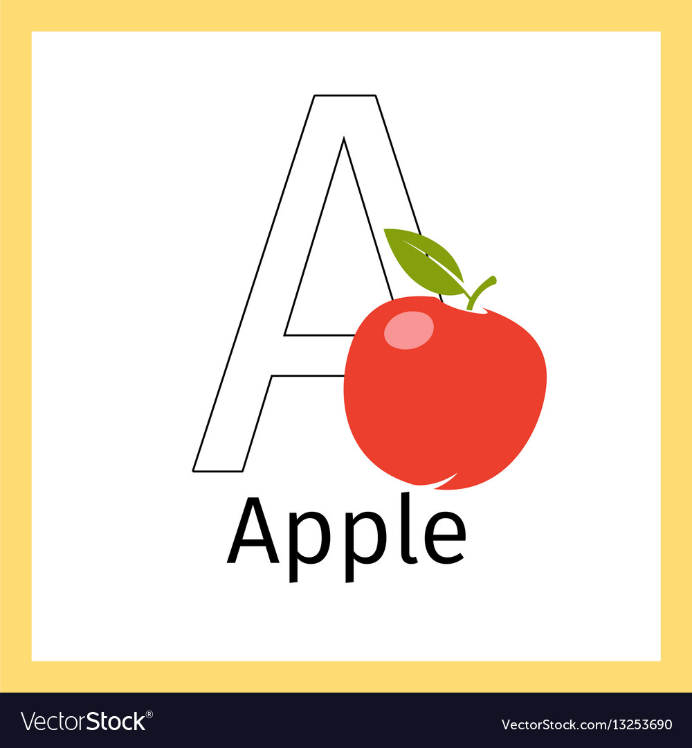 Apple and letter a coloring page