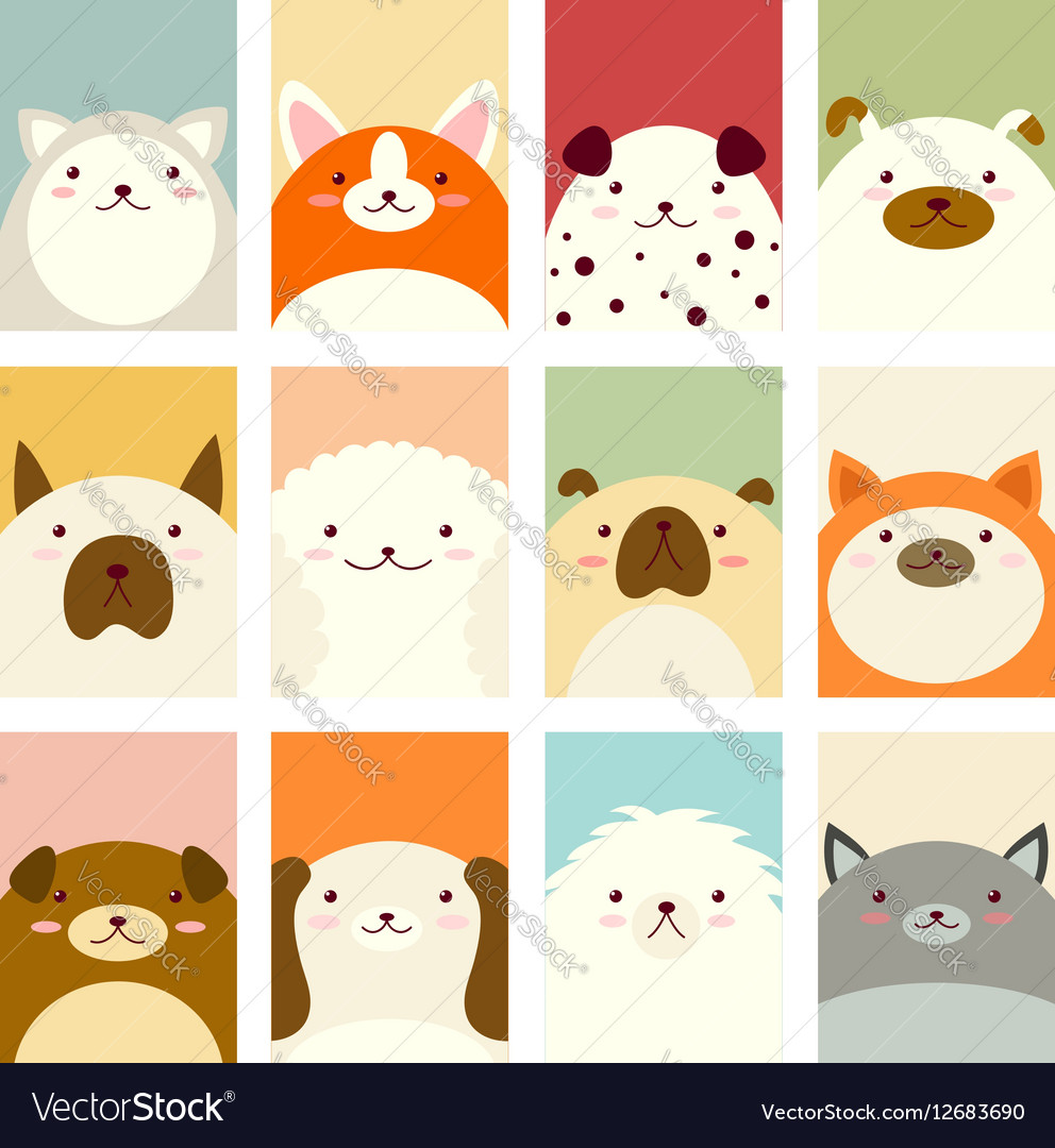 Banner Background With Cute Dogs Royalty Free Vector Image