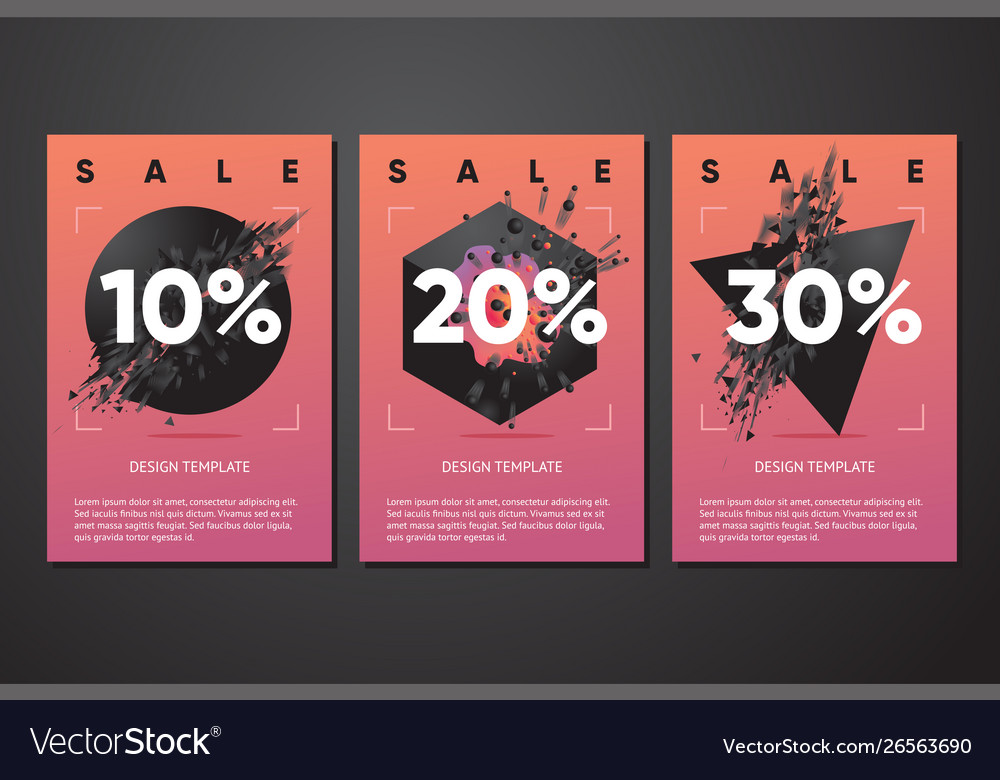 Black friday sale posters with abstract 3d element