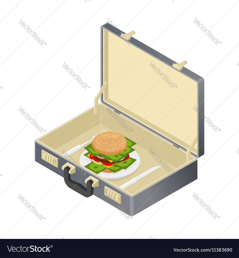 Business lunch case with hamburger and money vector image