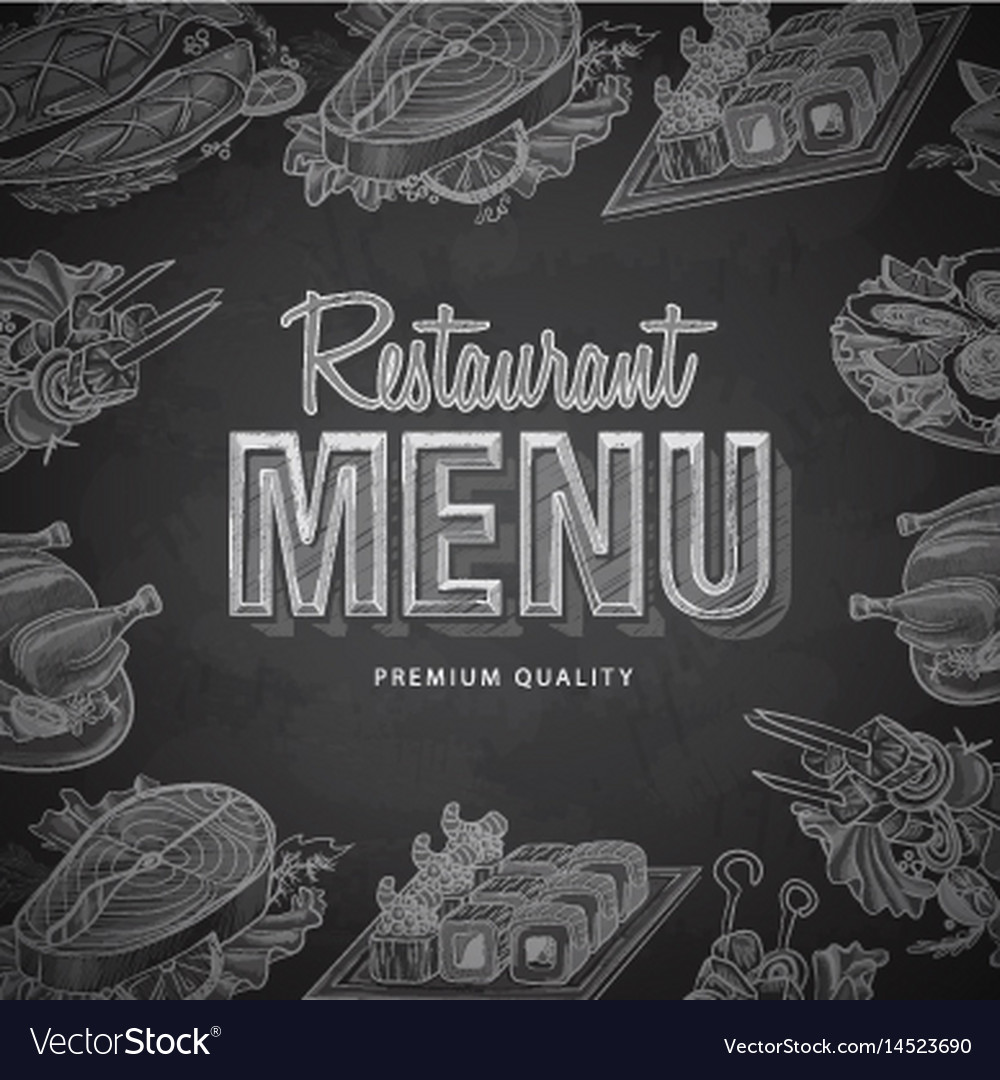 Chalk Drawing Typography Restaurant Menu Design Vector Image
