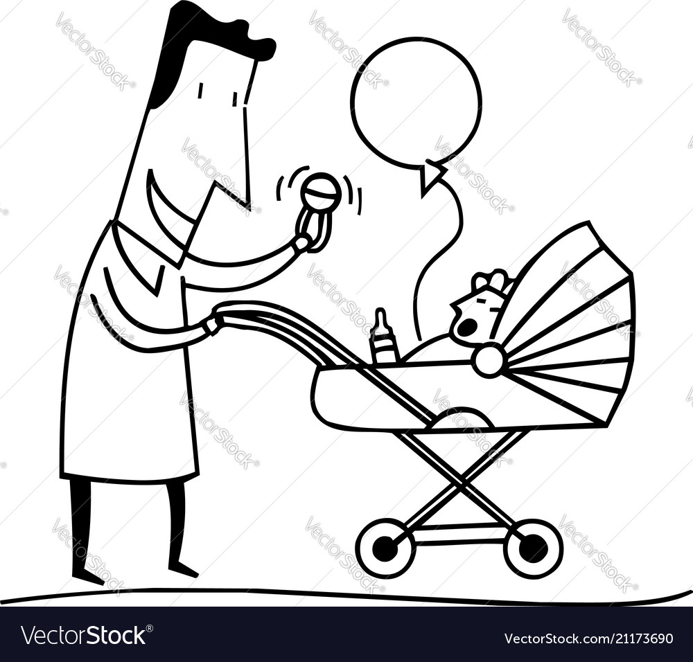 Dads play with babies outlined cartoon handrawn