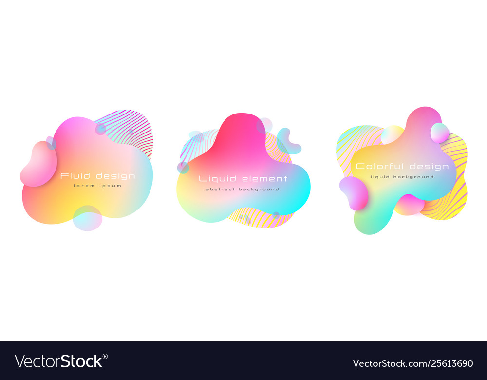Futuristic colorful abstract liquid element set