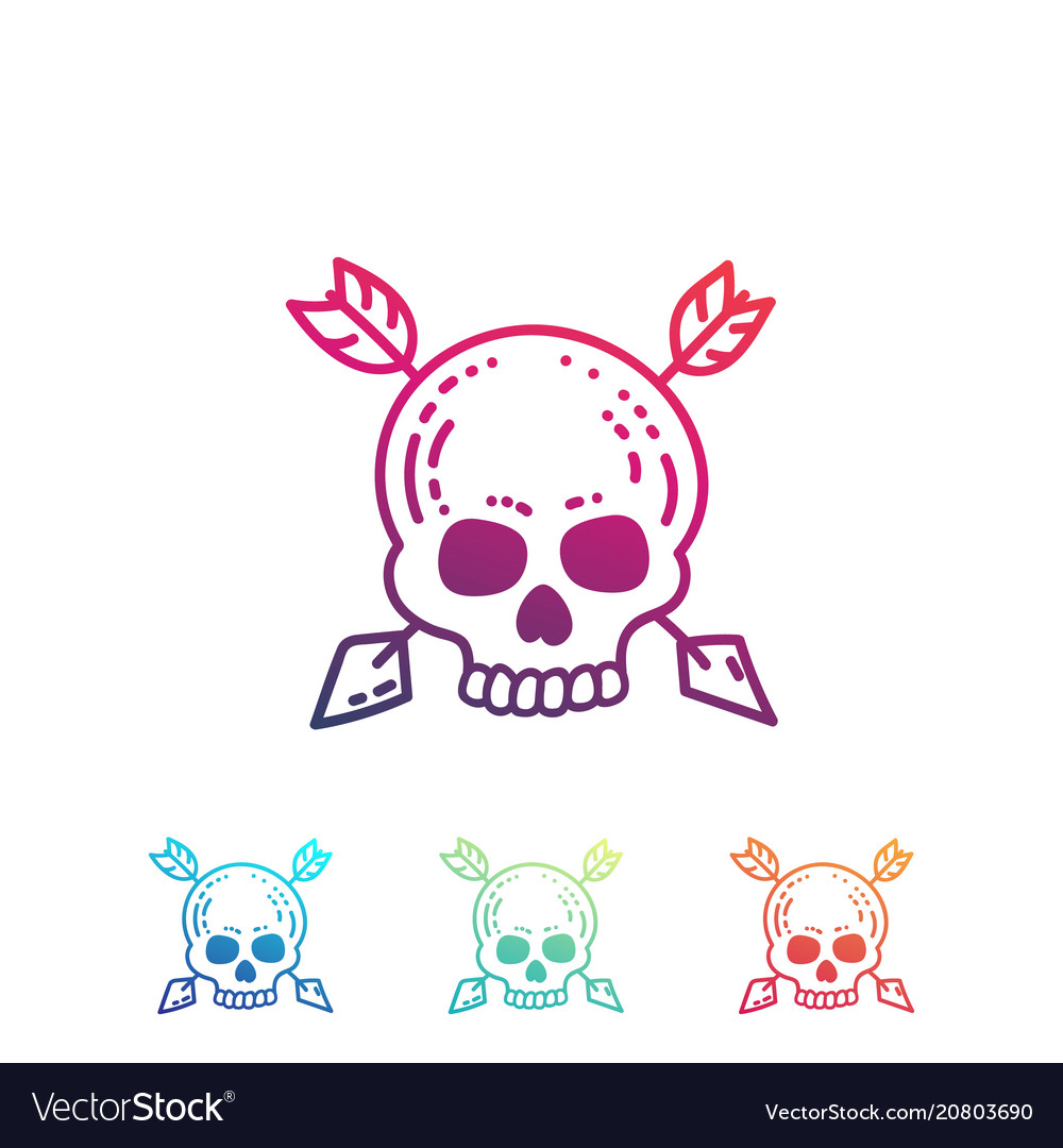 Hand drawn skull with arrows isolated on white