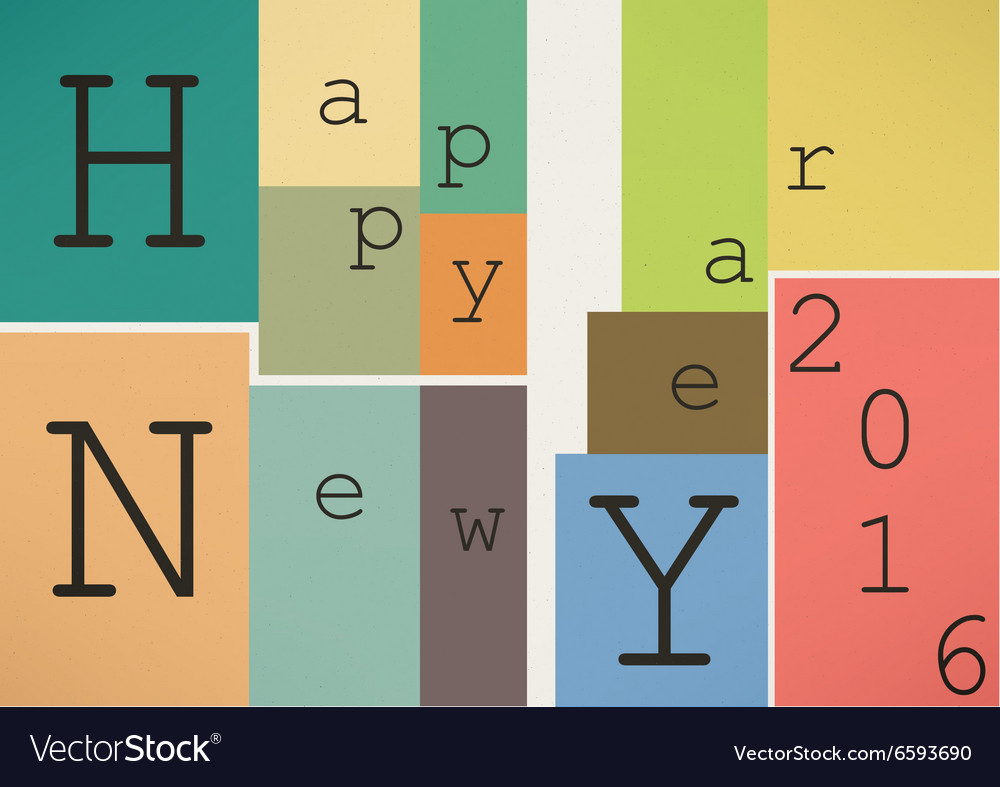 Happy New Year 2016 in vintage style