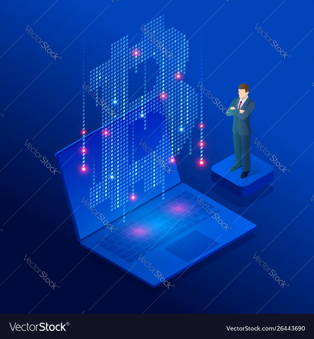 Isometric cryptocurrency business people miner and