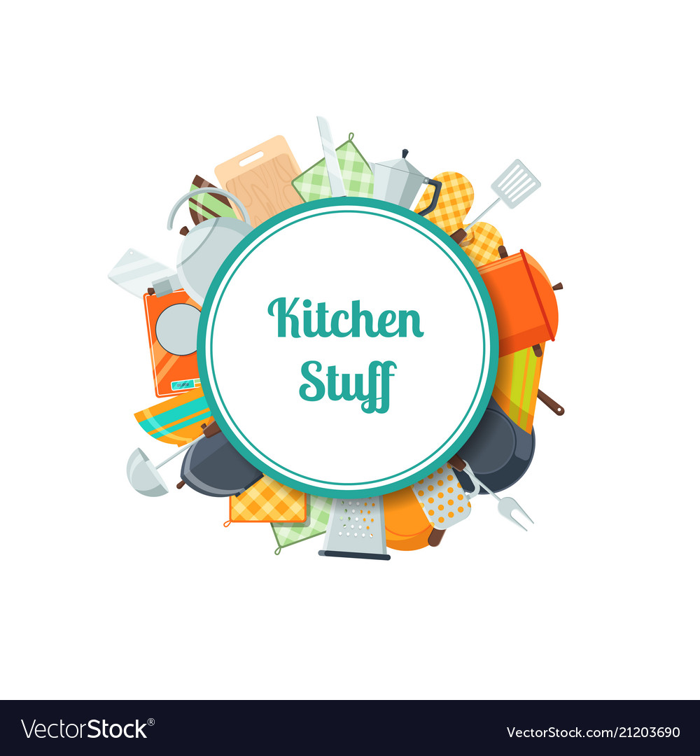 Kitchen utensils flat icons with place
