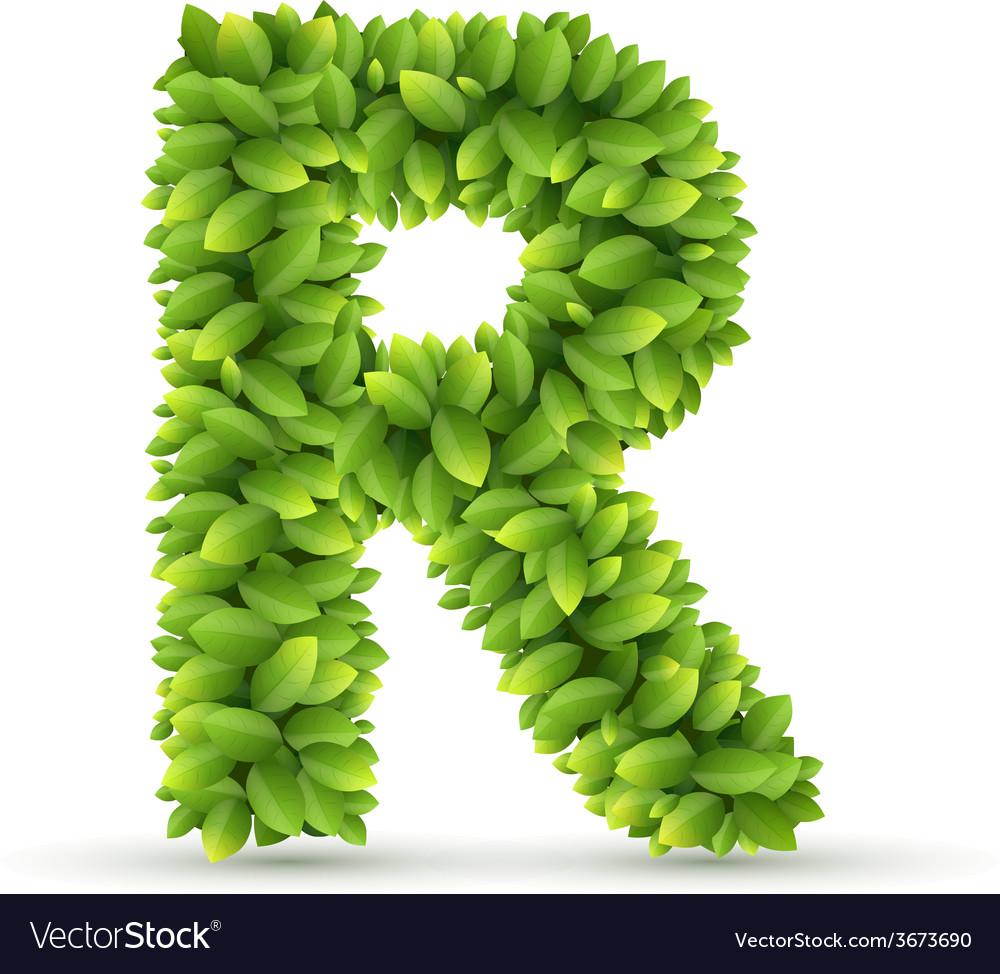 Letter R alphabet of green leaves