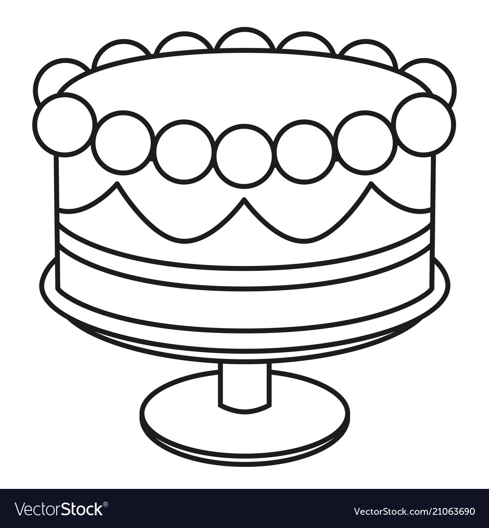 Fantastic Line Art Black And White Birthday Cake On Stand Vector Image Funny Birthday Cards Online Alyptdamsfinfo