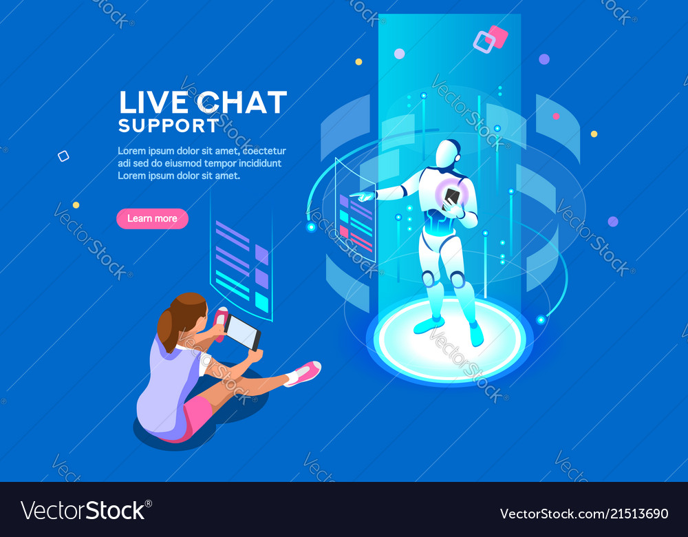 Live chat support isometric concept