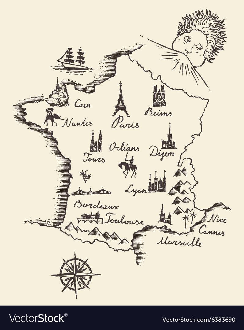 Marseille On Map Of France.Map Of France Vintage Engraved Sketch Vector Image
