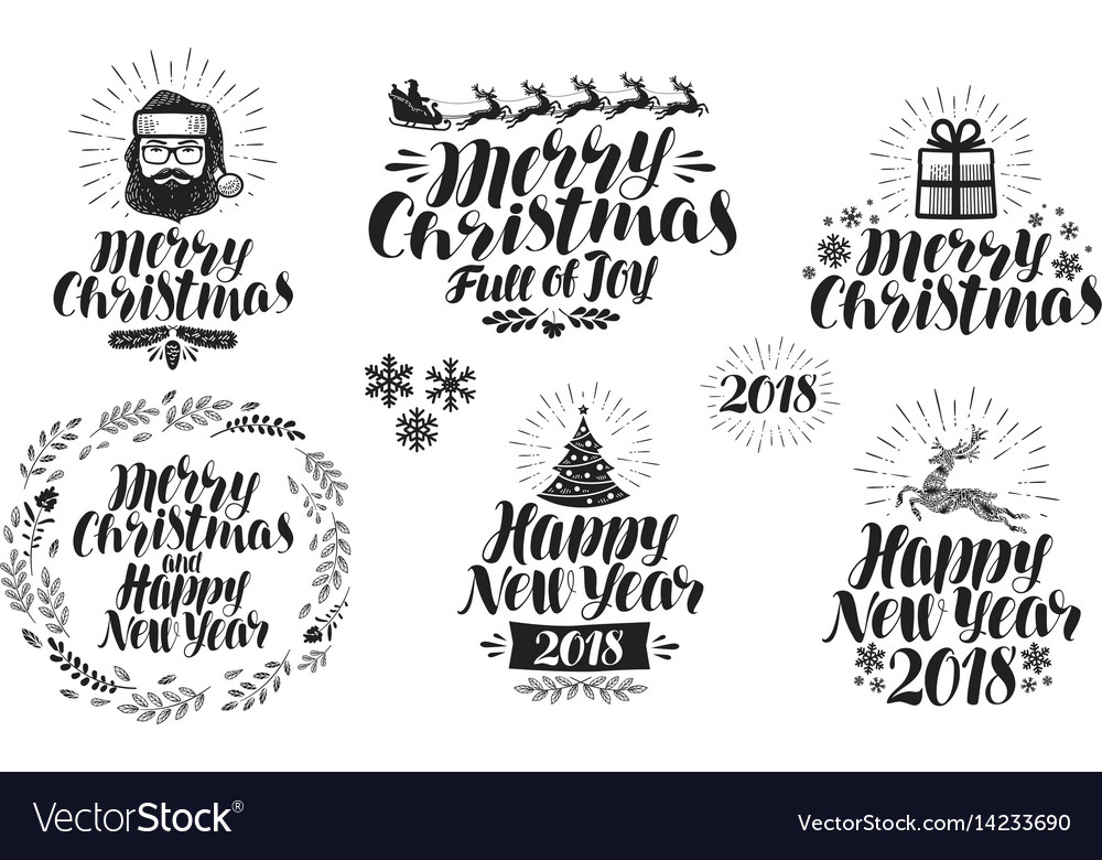 Merry christmas or happy new year label set xmas