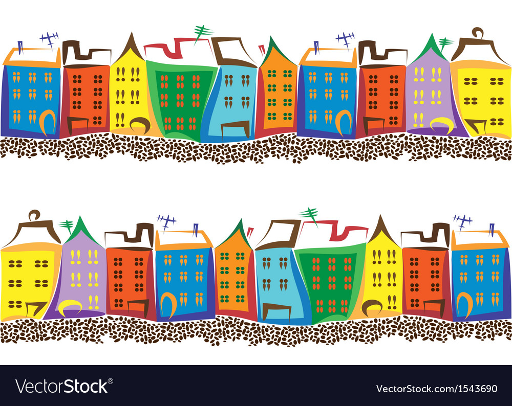 Old town with colored houses and paving stone vector image