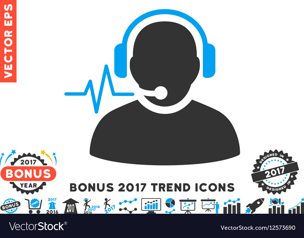 Operator Signal Flat Icon With 2017 Bonus Trend vector image