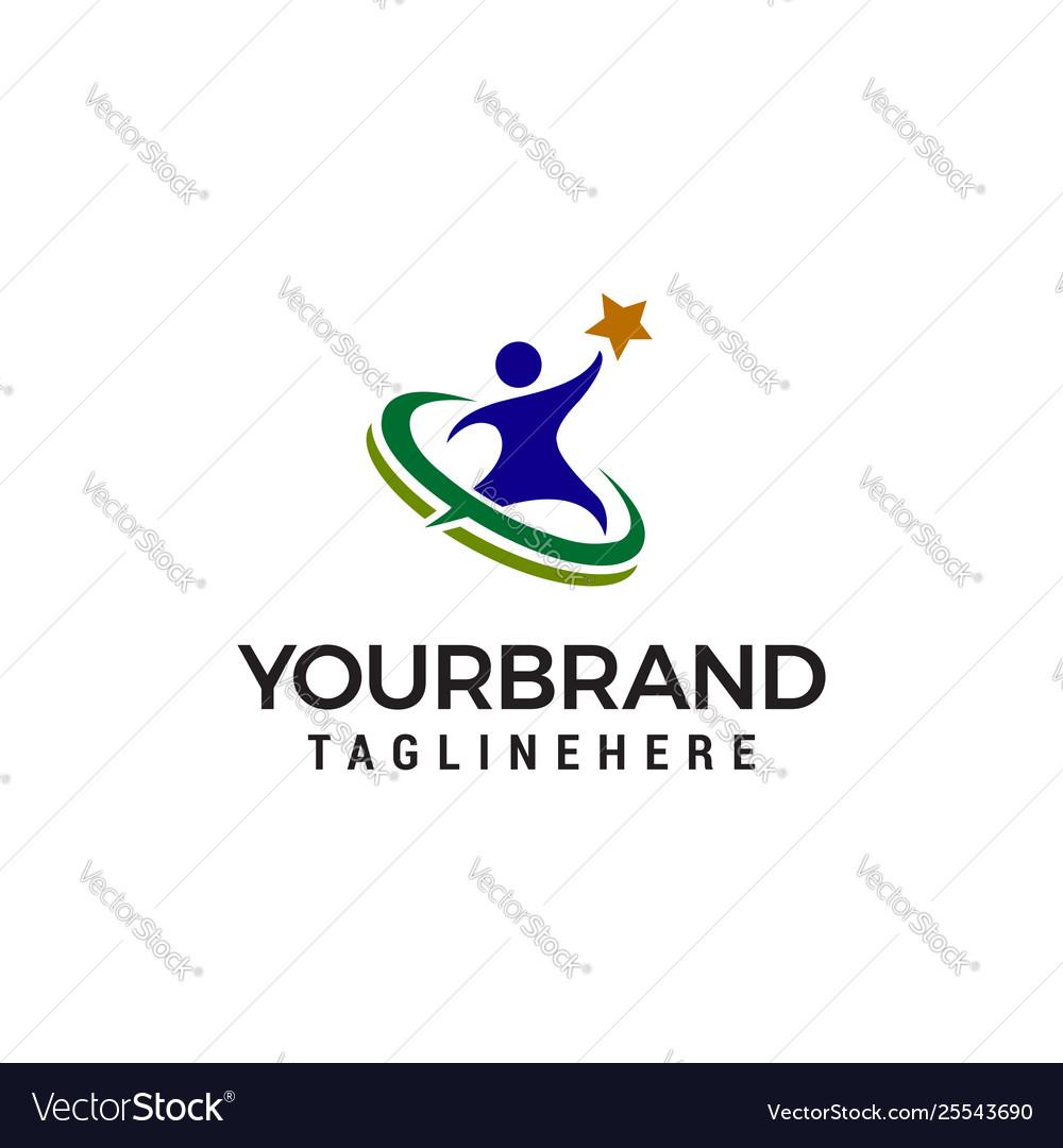 People star logo design concept template