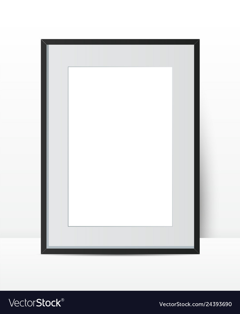 Realistic photo frame on wall background perfect