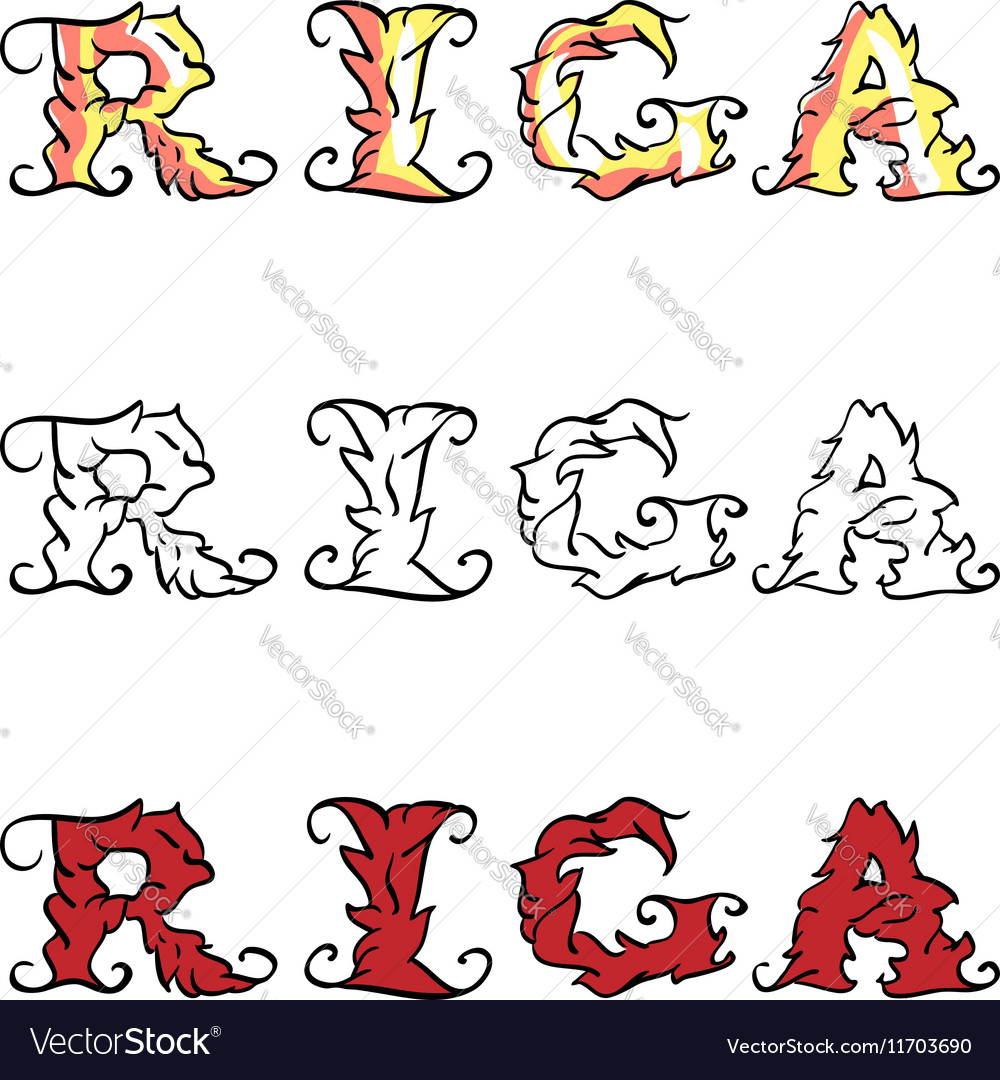 Riga hand written inscription vector image