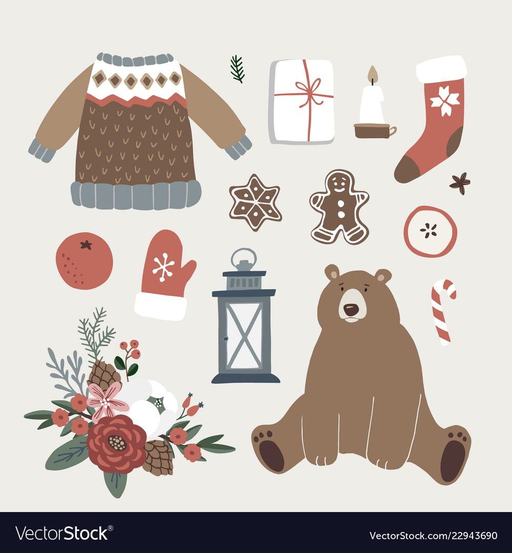 Set of cute christmas animal lifestyle and food