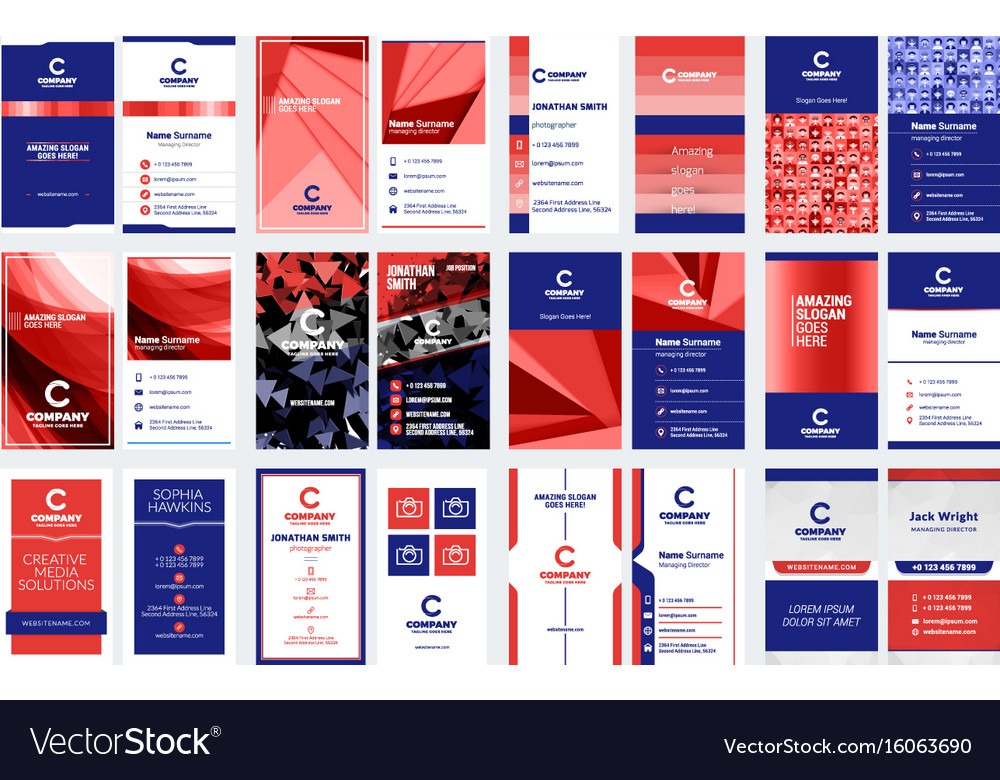 Set of vertical double sided business card vector image reheart Image collections