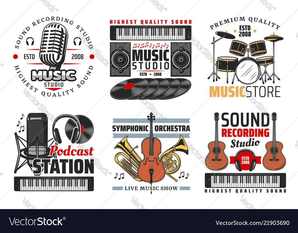 Sound record studio music and radio icons