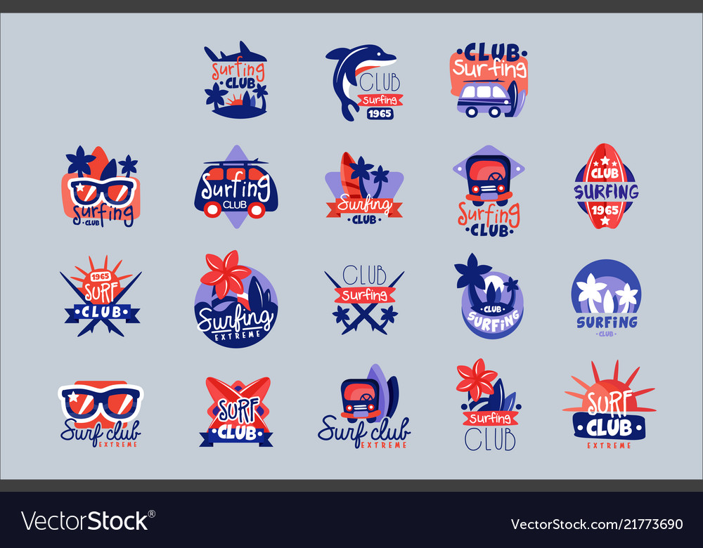 Surfing club logo templates set surf club emblem