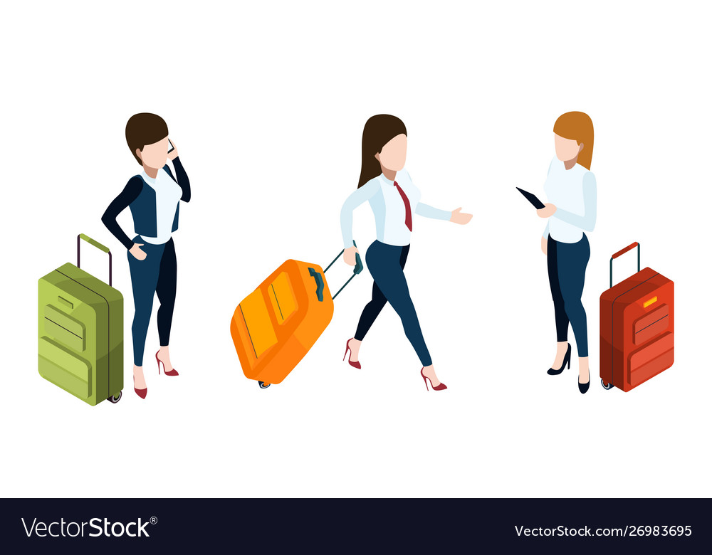 Business trip concept businesswomen with