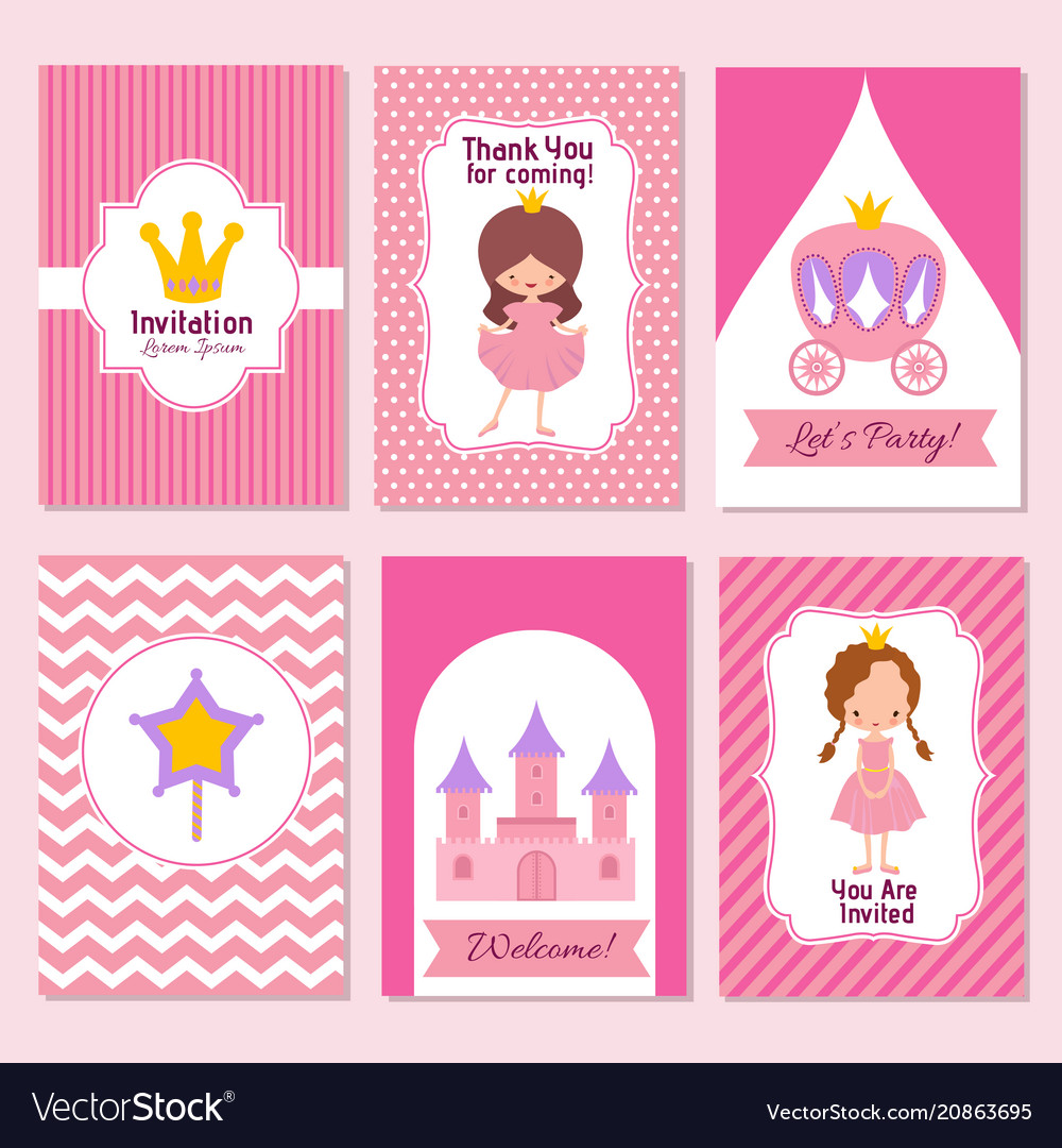 Child happy birthday and princess party pink