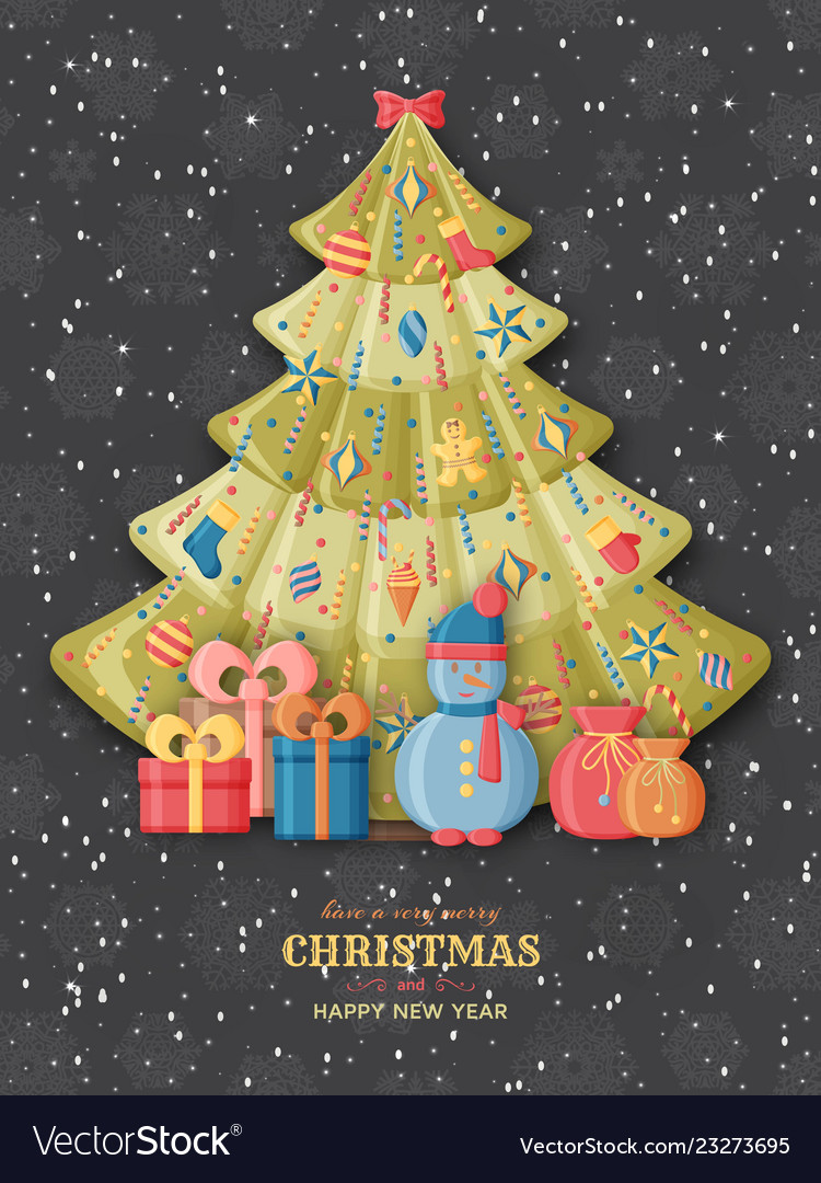 Christmas background with 3d paper cut signs cute
