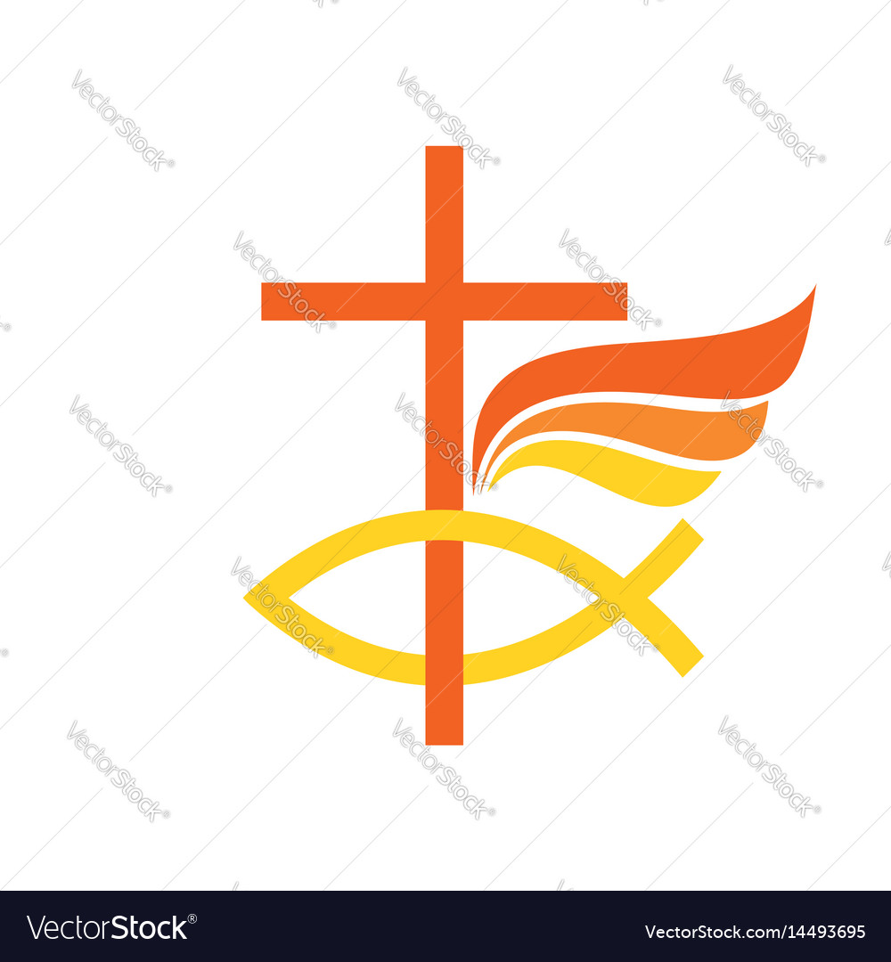 Cross Symbol Of Fish And Wing Royalty Free Vector Image