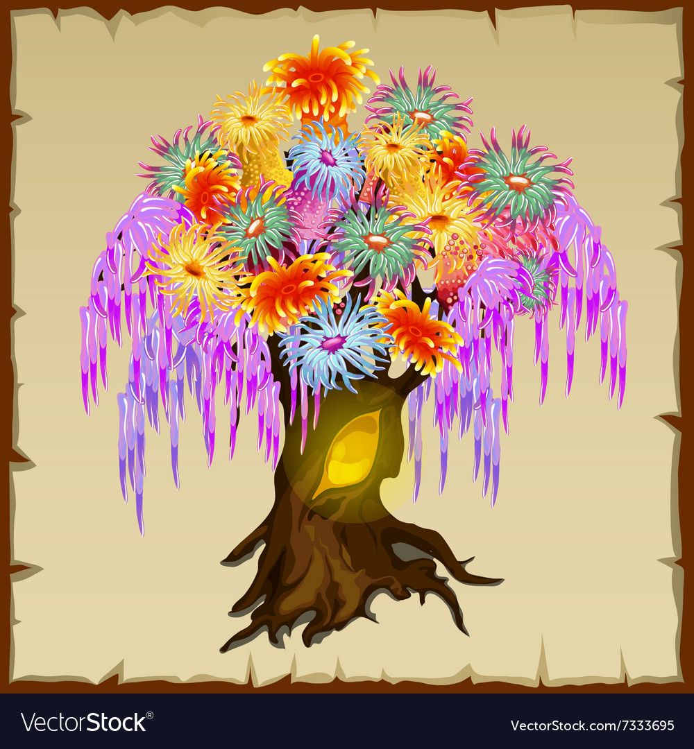 Fairy tree with colorfull foliage of flowers