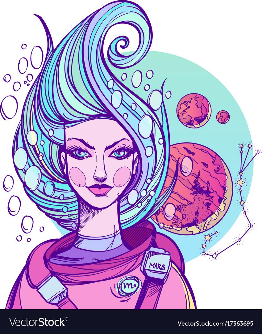 Girl symbolizes the zodiac sign scorpio pastel vector image