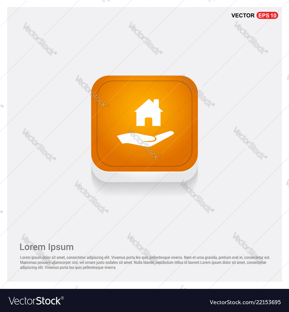 Hands holding house icon orange abstract web