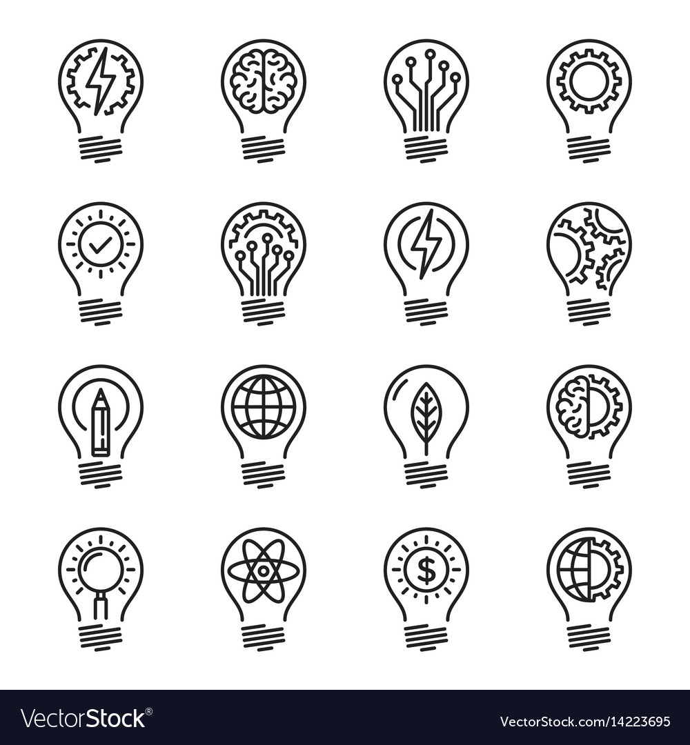 Idea intelligence creativity knowledge thin line vector image