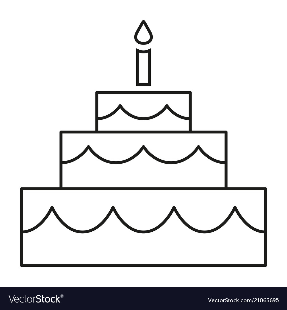 Line Art Black And White Birthday Cake Royalty Free Vector