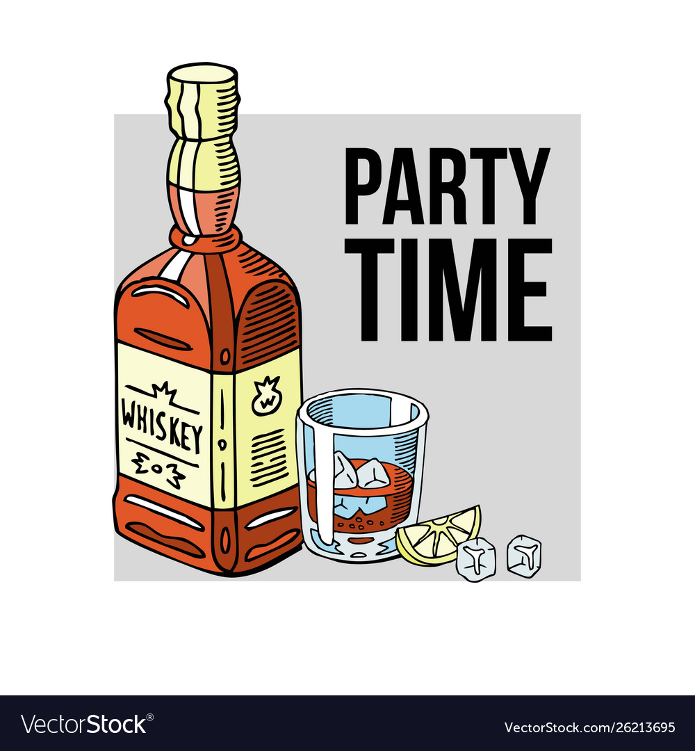 Party time banner bottle of