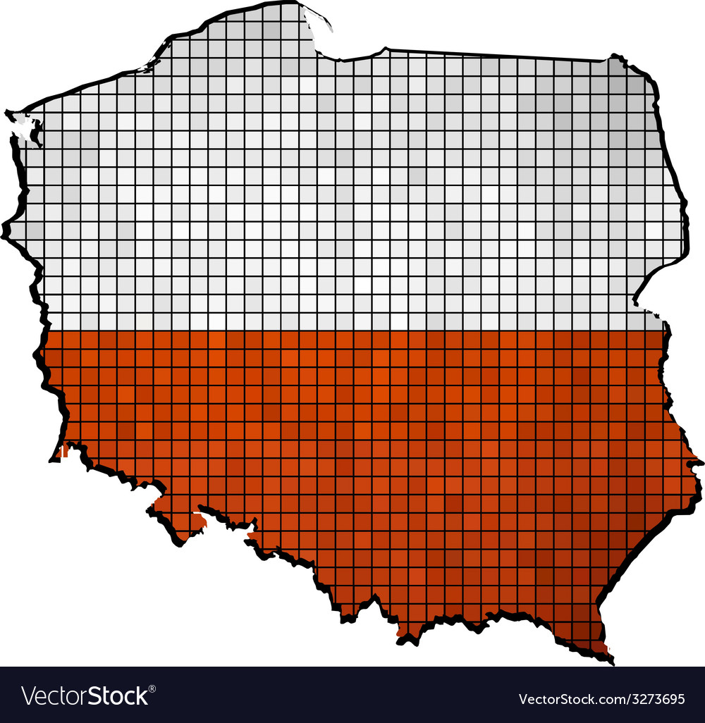 Poland map with flag inside Royalty Free Vector Image