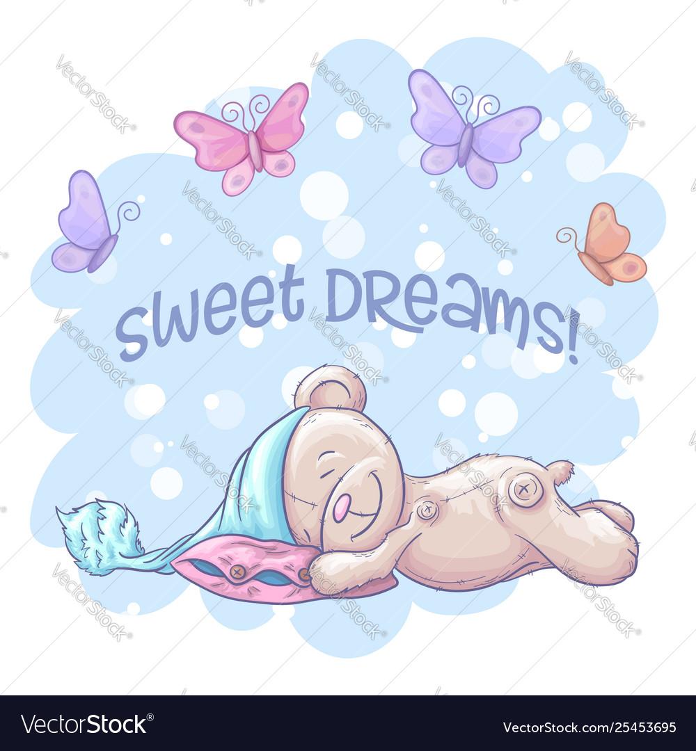 Postcard cute sleeping bear and butterflies