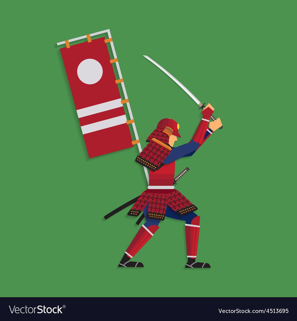 Samurai Warrior Brandishing Sword vector image