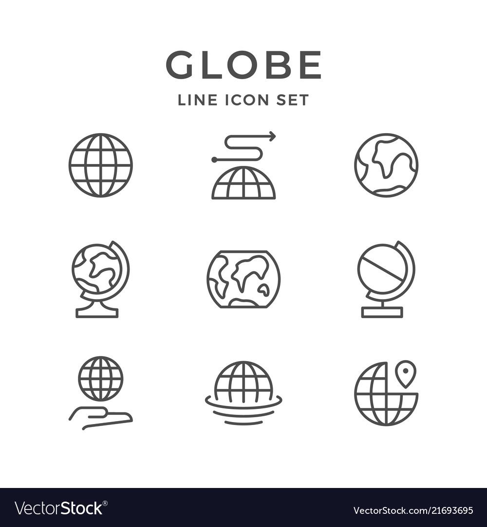 Set line icons of globe